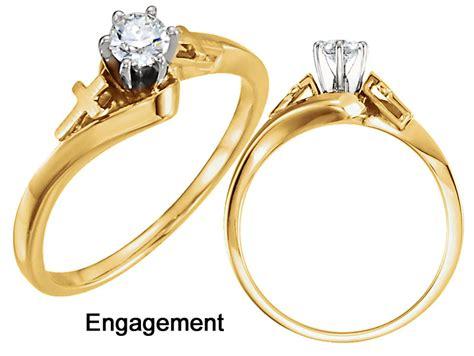 gold religious cross engagement ring 1381e