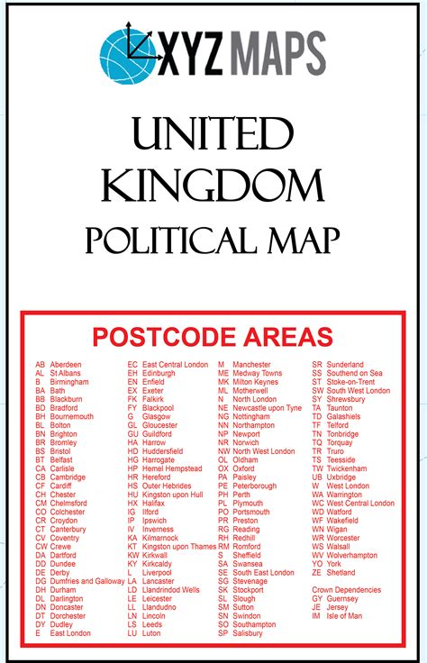 uk postcode area political ar2 large wall map xyz maps