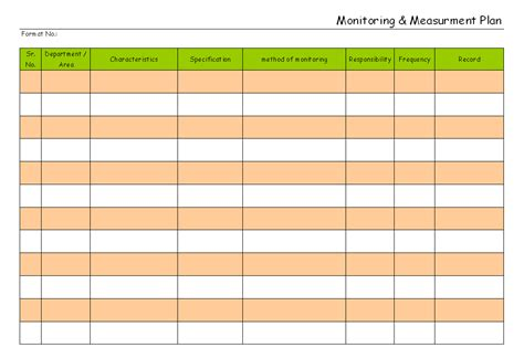 Monitoring And Measuring Plan Monitoring Plan Template