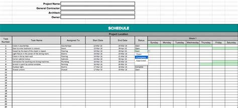 construction schedule template free excel download