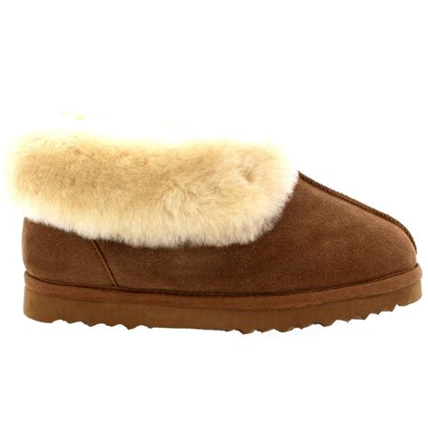 warm house slippers womens real suede australian sheepskin fur lined warm house slipper boots 3 10 ebay