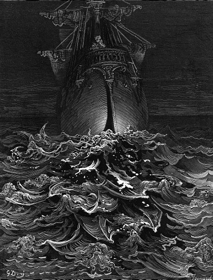 The Mariner gazes on the ocean and lamen - Gustave Doré as