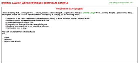 junior lawyer work experience certificates
