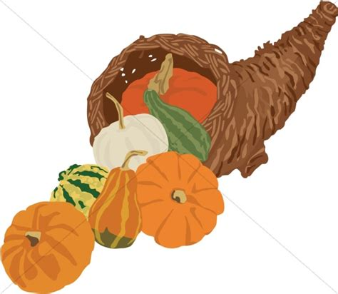cornucopia with pumpkins and gourds thanksgiving clipart
