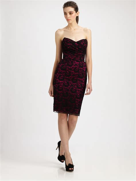 Trend Of The Week Purple Strapless Dresses by Dolce Gabbana Strapless Lace Dress In Purple Fuchsia