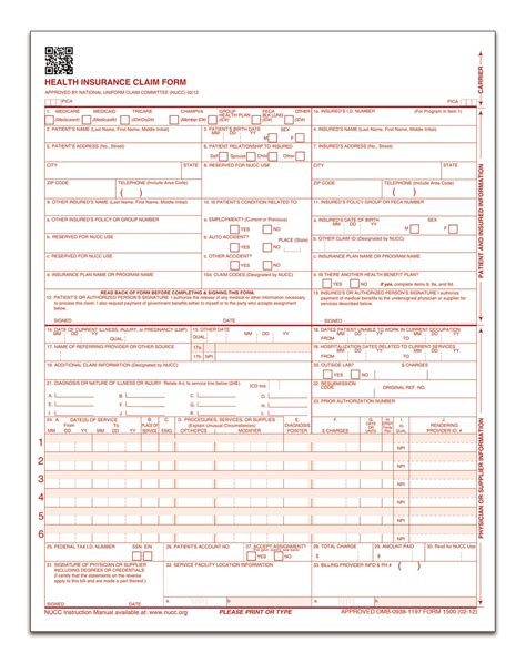 Health Insurance Claim Form Laser 250 Pk Cms 1500 Template