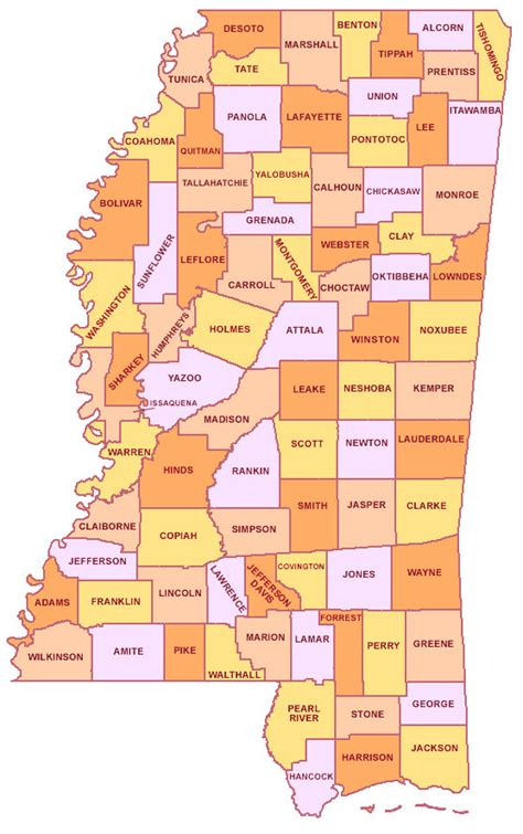 mississippi county map map of mississippi counties cities state map map of usa states