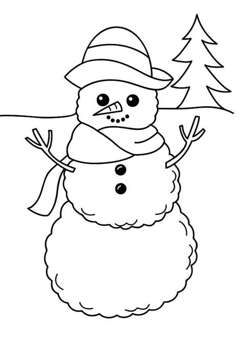 simple snowman coloring page winter a simple winter snowman figure coloring page