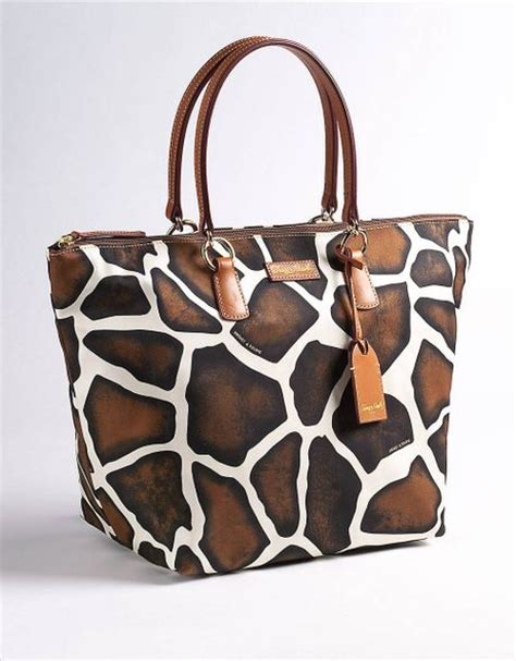 Catherine Rapettis Large Printed Tote In Girrafe by Dooney Bourke Large Animal Print Tulip Shopper In Brown