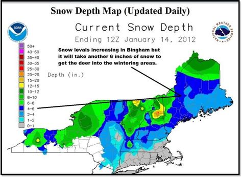 snow depth map is maine s coyote plan just not working
