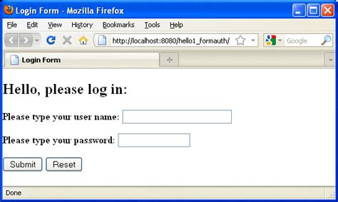 tutorial java login form exle form based authentication with a javaserver faces