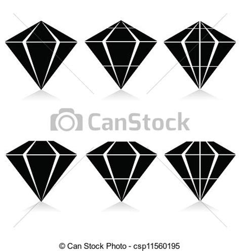 eps vectors of diamond vector illustration in black on