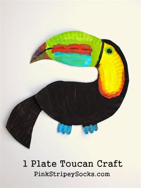 How To Make Rainforest Animals Out Of Paper - paper plate toucan craft pink stripey socks
