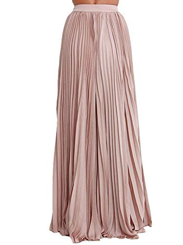 s plain formal pleated maxi skirt m pink