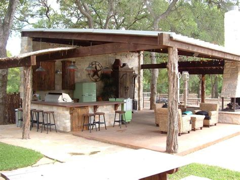 Rustic Outdoor Kitchen Ideas Ranch Style Entertaining A Rustic Covered Outdoor Kitchen In Dallas Goes Big With A Bar Using