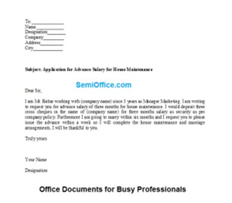Employee Advance Payment Request Letter Application For Advance Salary For House Maintenance