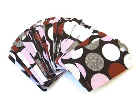 Set Dea Polka gift tag set of 28 black with pink white polka dots glitter 2 50 via etsy