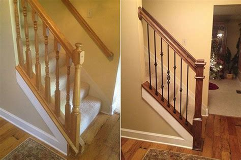 replacing banister diy staircase before and after stair railings shelter