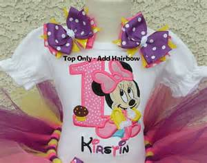 Girls 1st birthday baby minnie mouse pink yellow and purple quick ship