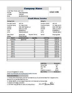 credit invoice template credit memo invoice excel format word excel templates