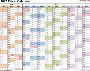 Template 1 fiscal year calendar 2017 for excel landscape orientation