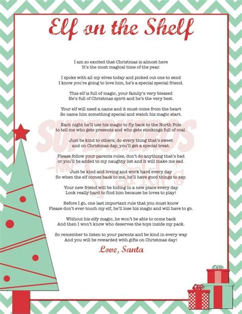 free printable elf on the shelf poem 17 best images about elf on the shelf ideas on pinterest