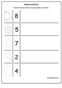 Count And Draw Worksheets class 1 worksheet for to read count and draw counting