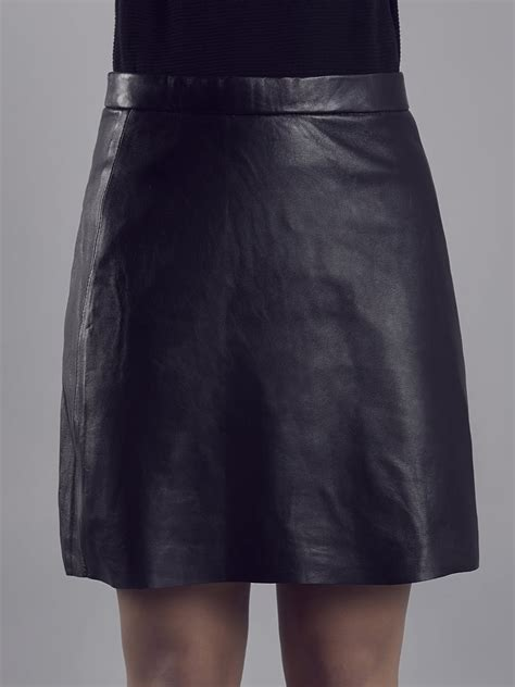 muubaa pannala black leather a line skirt