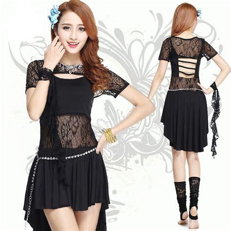 Dress Terusan Set Lindsay Du danse du ventre 4 pieces set black belly dress sleeves lace skirt