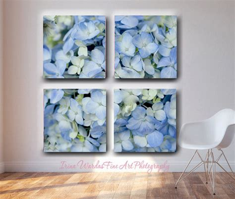 large wall 4 panel split canvas hydrangea floral wall