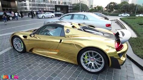 gold porsche 918 gold chrome porsche 918 spyder no 222 weissach package