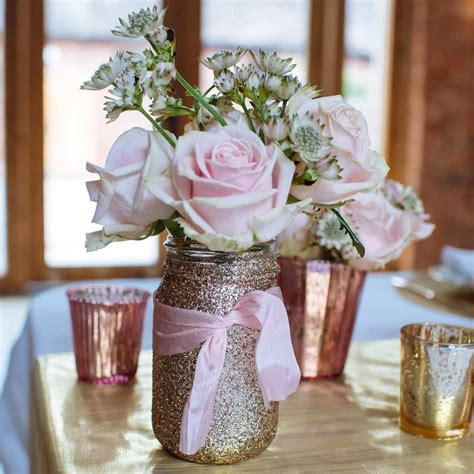 gold glitter jar vase by the wedding of dreams