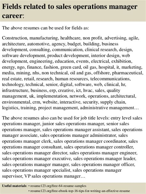 top  sales operations manager resume samples