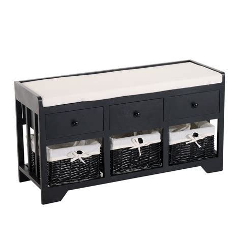 black bench with baskets 23 black storage bench with baskets homcom 40quot 3