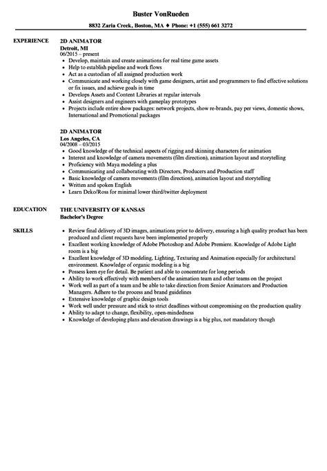 Animator Resume by 2d Animator Resume Sles Velvet