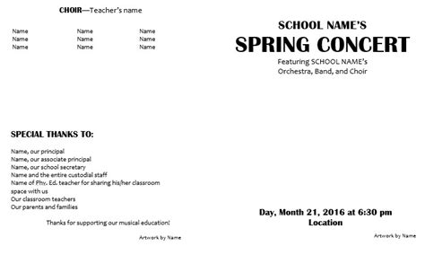 concert program template teaching elementary orchestra template for a concert