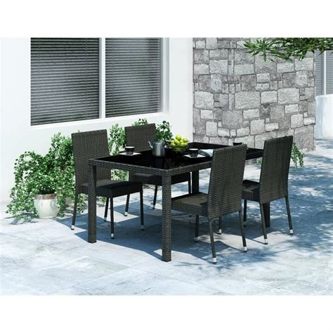 Black Patio Dining Set 5 Wicker Patio Dining Set In Black Z 206 Tpp