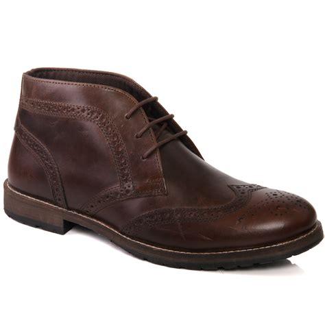 unze mens henbury leather desert boots uk size 7 11 brown