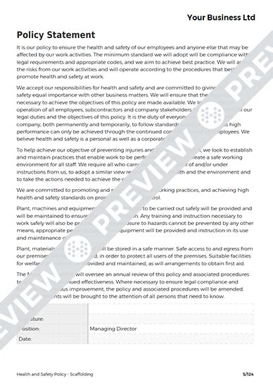 Scaffolding Health And Safety Policy Template Haspod Scaffold Safety Program Template