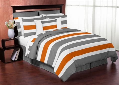 gray and orange stripe 4pc teen twin bedding set