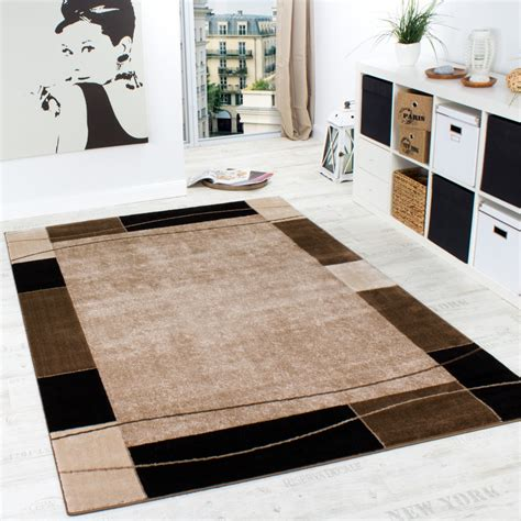 Teppiche 300x400 by Designer Rug Living Room Rug Modern Border In Brown Beige