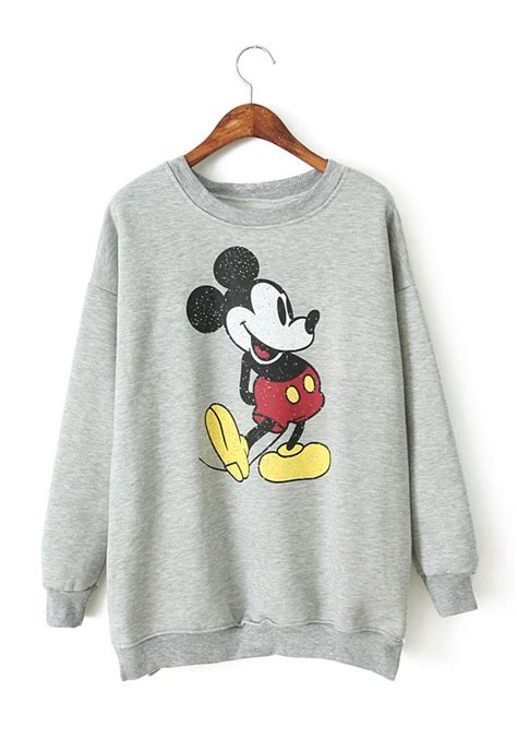 Sweater Mickey Mouse grey mickey mouse print neck cotton sweatshirt