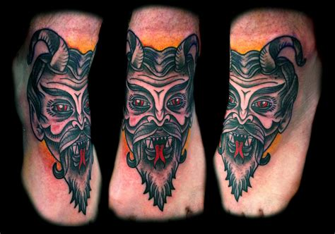 devil face tattoo designs traditional mask foot design