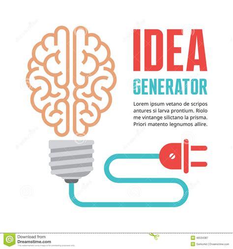 idea generator human brain in light bulb vector illustration idea
