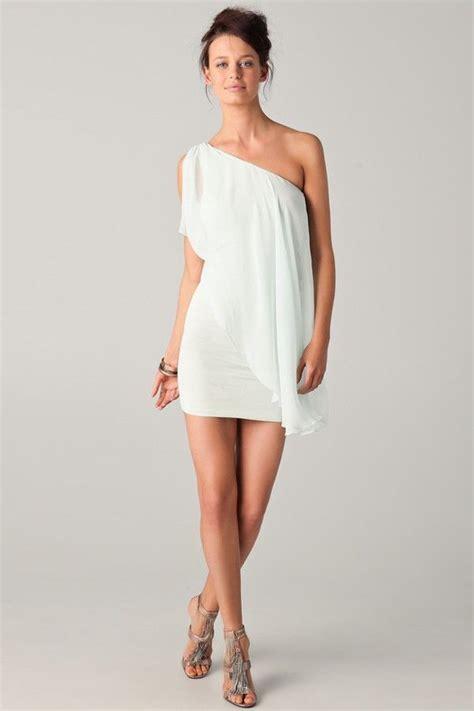 Wedding Shower Dresses For white one shoulder drape chiffon dress bridal shower dress or bachelorette dress