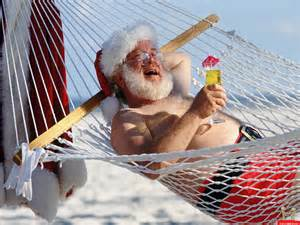Funny santa christmas 2 santa claus on vacation funny picture