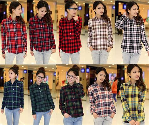 Sabrina Blouse Casual Flanel casual button lapel shirt plaids checks flannel shirts tops blouse flannel shirts