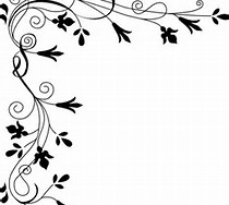Black and White Flower Border Clip Art