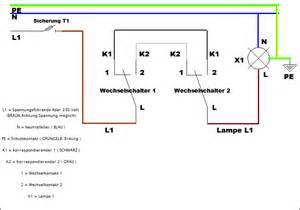 schaltplan wechselschalter mit 2 len wechselschaltung schaltplan wie