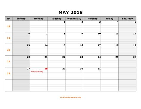 printable calendar 2018 large free download printable may 2018 calendar large box grid